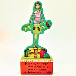 Demdaco Christmas Girl Cut Out on Wooden Stand